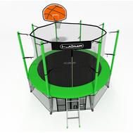 Дачный каркасный батут с баскетбольным кольцом - i-JUMP BASKET 8FT GREEN, сетка, мат, лестница, фото 1
